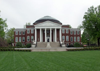 Religious Life Association building with a statue of the Thinker, pillars, and a lawn
